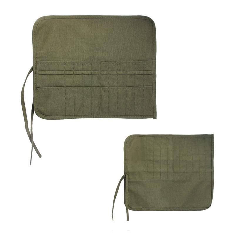 Custom green small tool pencil accessory bag canvas roll up artist paint brush bag