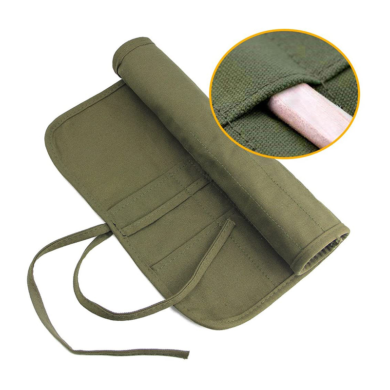 Custom green small tool pencil accessory bag canvas roll up artist paint brush bag