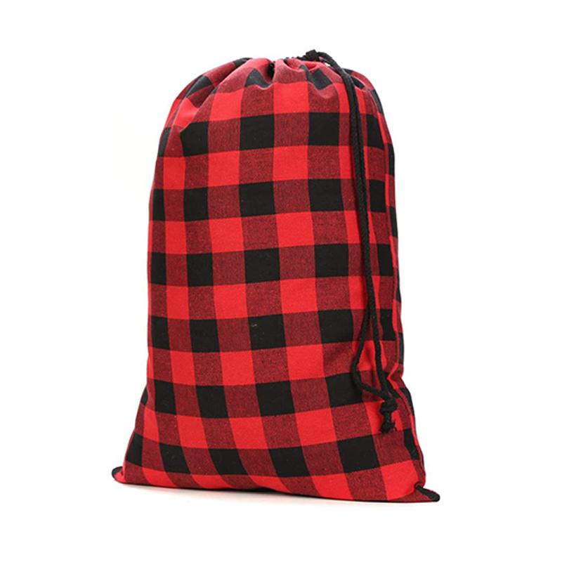Eco Friendly Gingham Cotton Fabric Pretty Christmas Drawstring Candy Gift Storage Bag