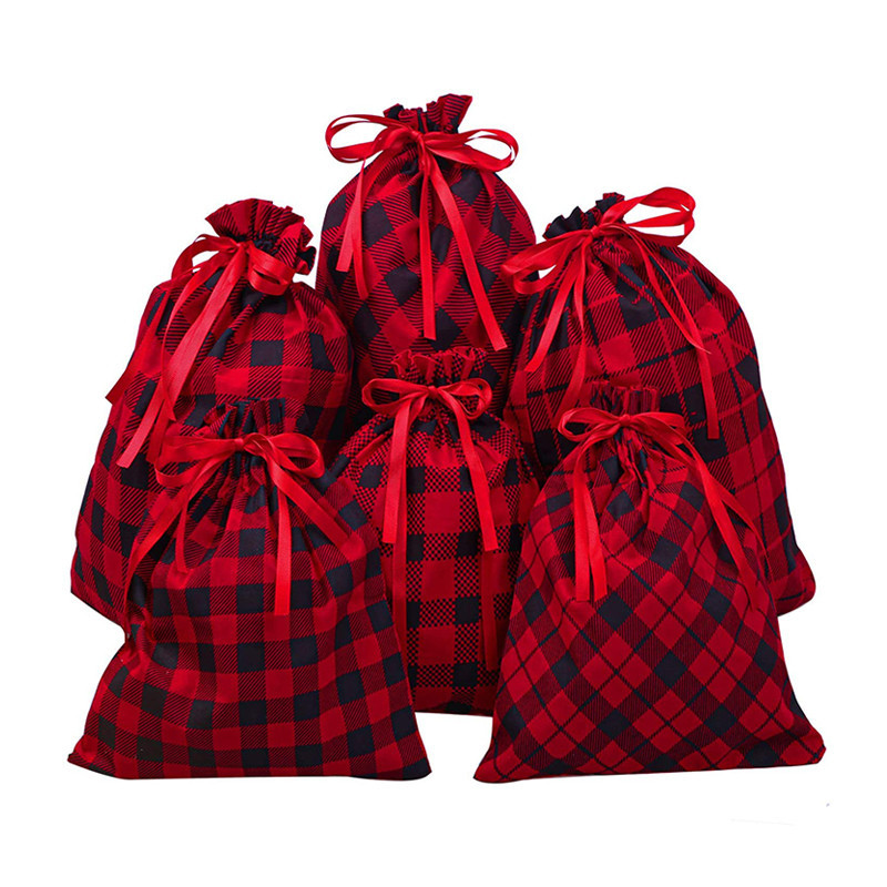 Natural Eco Custom Print Gift Packaging Storage Cotton Drawstring Pouch Bag With Christmas Design