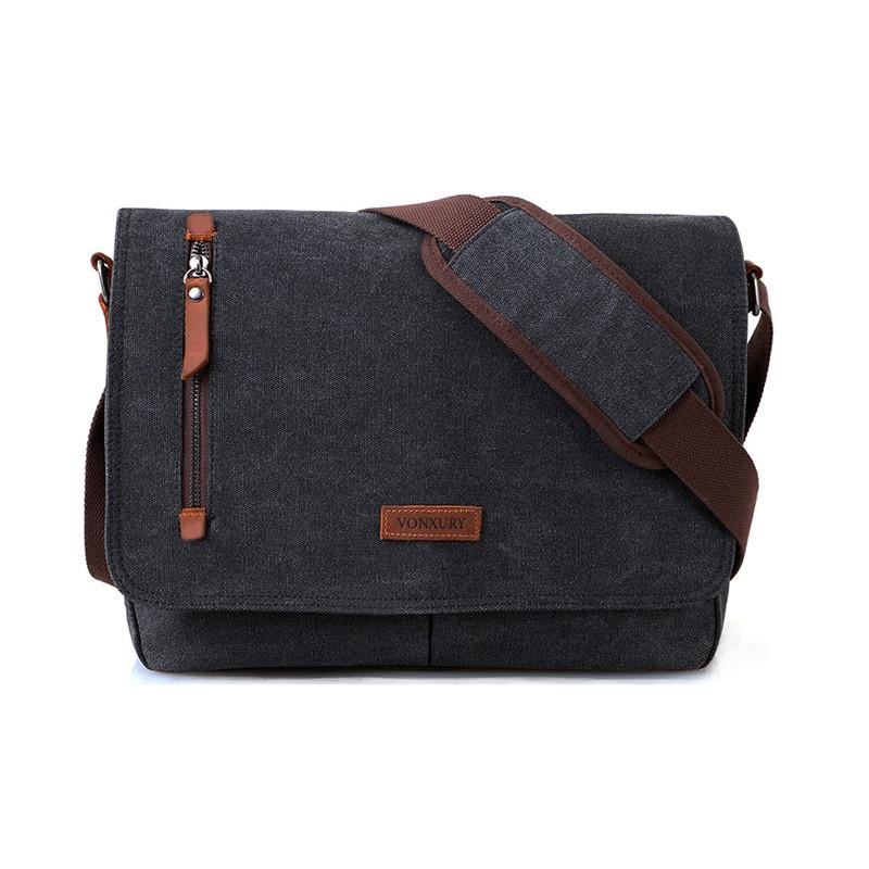 Custom inch vintage compartment male laptop blank canvas messenger bag shoulder