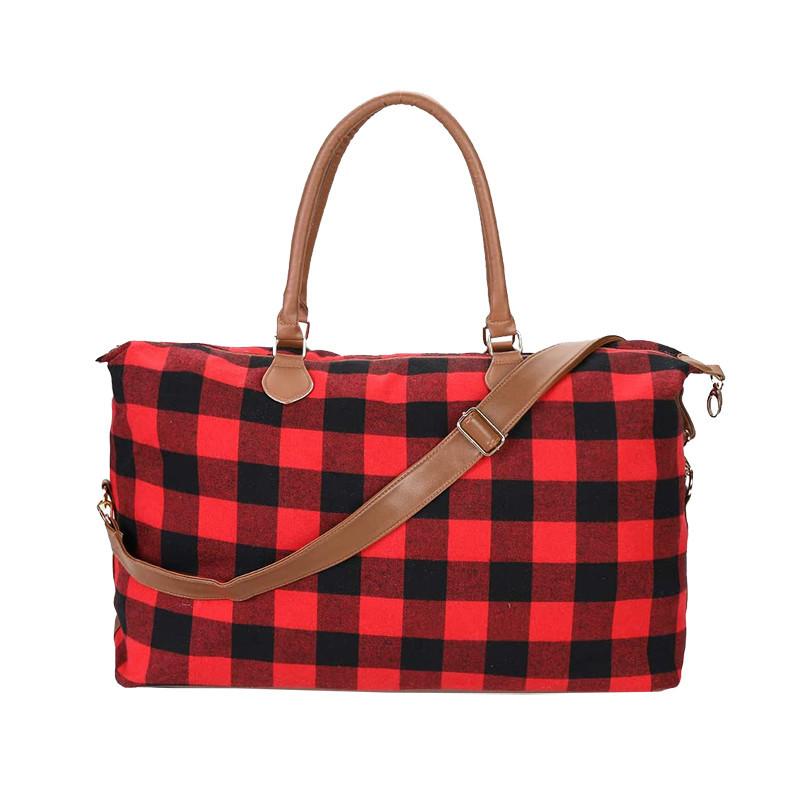 Custom large red grid canvas design christmas toe bag pu handles