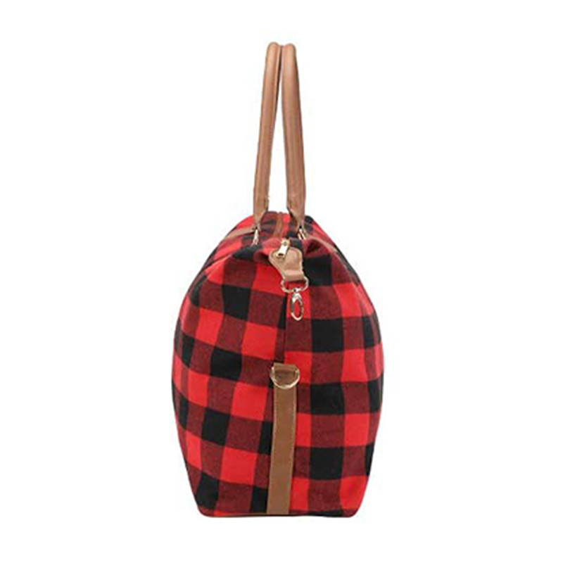 Custom large red grid canvas design christmas toe bag pu handles