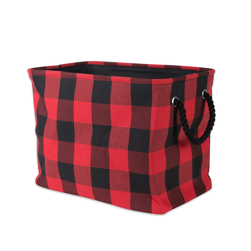 Custom red gingham polyester storage toys clothes blankets bucket tote bag