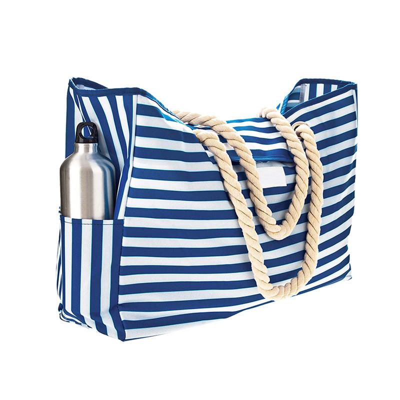 Portable Cloth Rope Cotton Outdoors Handbag Stripe Canvas Beach Bag Wholesale
