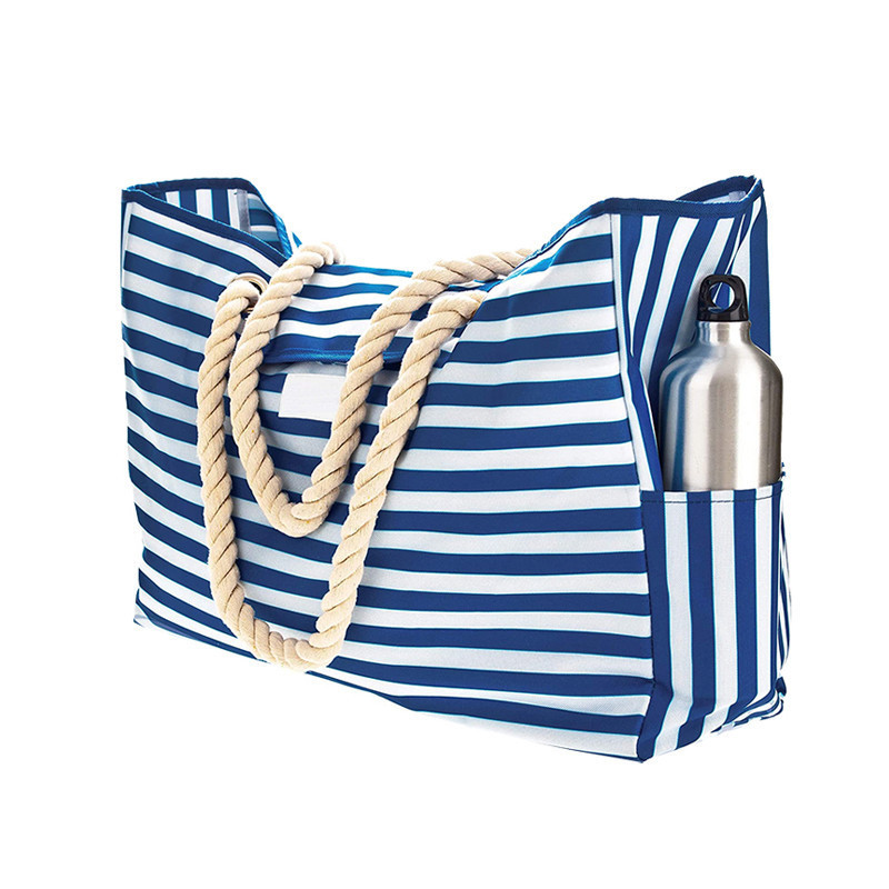 Portable Cloth Rope Cotton Outdoors Handbag Stripe Canvas Beach Bag Wholesale