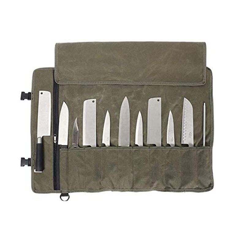 Wholesale Grey Waxed Canvas Chef Bag Roll Up Storage Chef Knife Bag