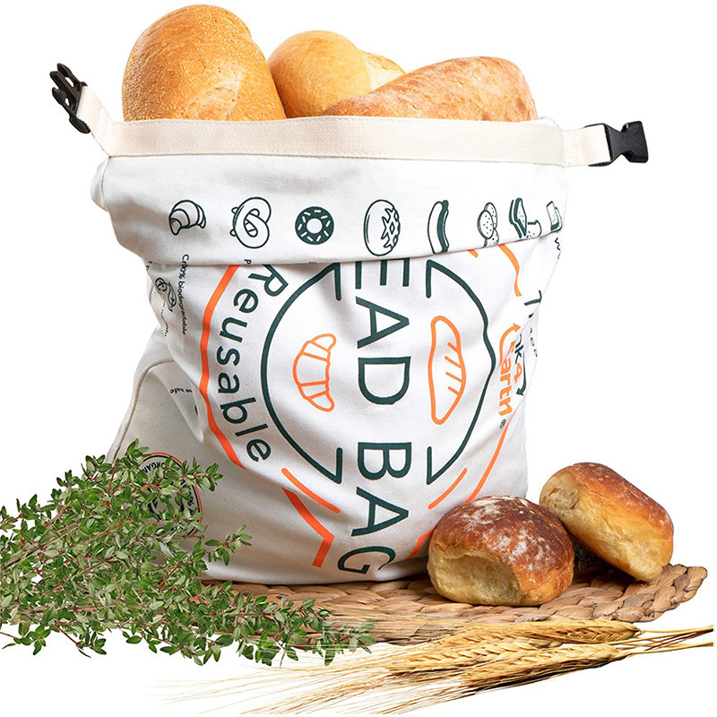Printed Logo Reusable Cotton Bread Bag For Christmas Halloween Packing Food