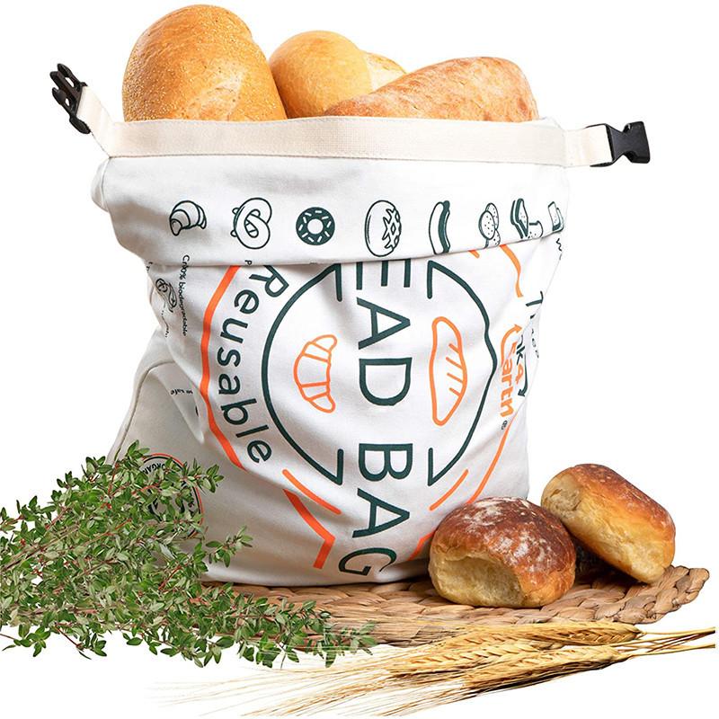Printed Logo Reusable Cotton Bread Bag For Christmas Halloween Packing Food