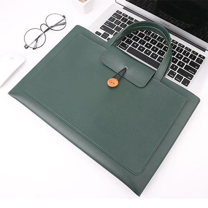 Custom Plain PU Leather Computer Tote Bag Document Pocket for Women