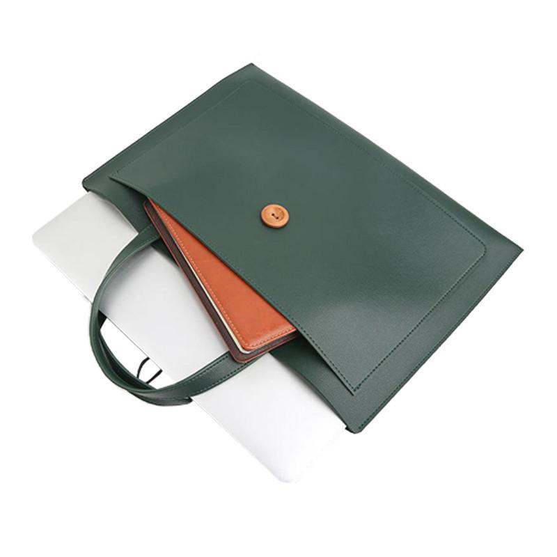 Custom Plain PU Leather Computer Tote Bag Document Pocket for Women