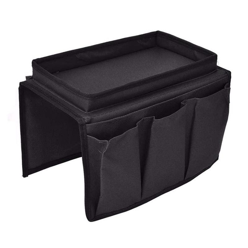 Custom wholesale black oxford sofa armrest storage hanging bag