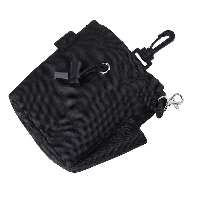 Black zippered pocket storage coin keys drawstring pouch with hanging buckle
