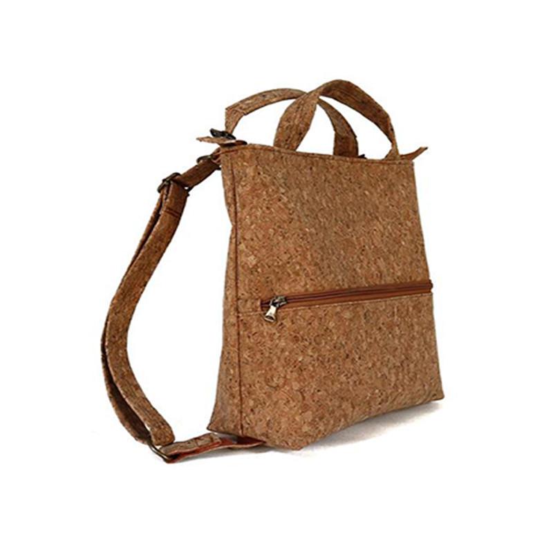 Custom shopping travel cork backpack tote bag with zipper pocket