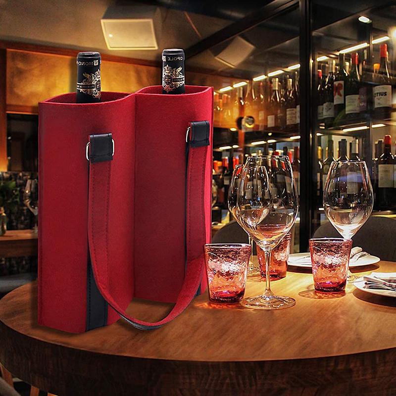 Custom christmas felt wine carrier tote bag two bottle gift bag