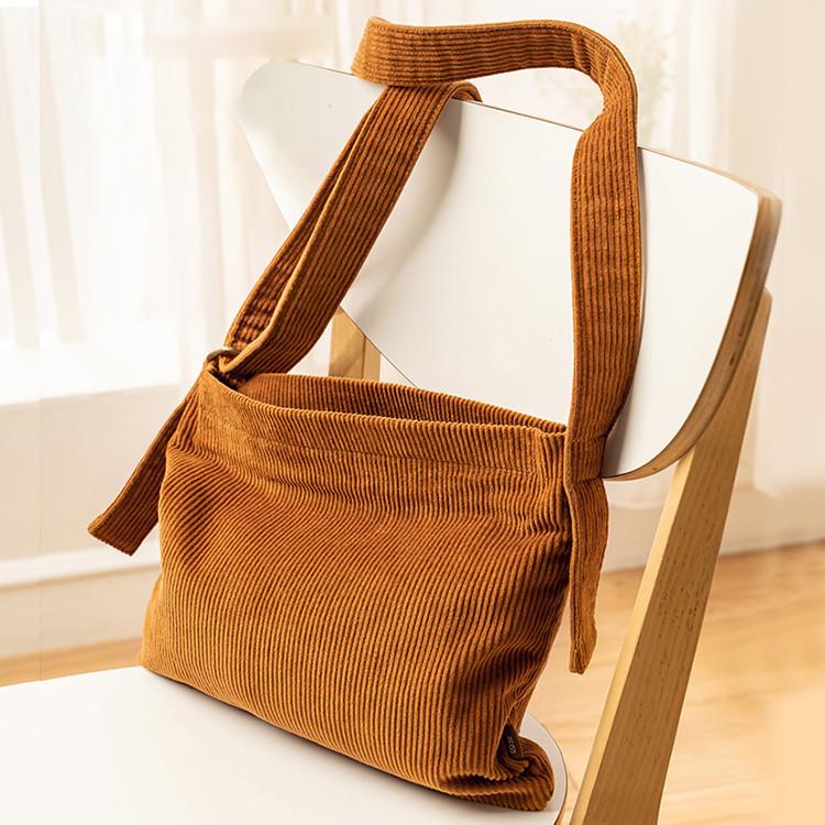 Customize fashion shopping corduroy messenger crossbody sling bag