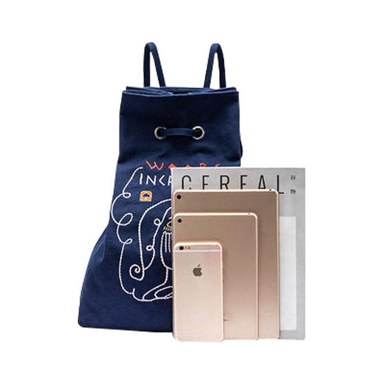 Casual Canvas Drawstring Backpack With Side Zipper Pocket For Travel school