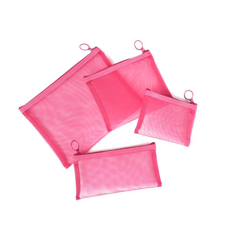 Custom Pink Nylon Mesh Zipper Bag Travel Package Cosmetic Makeup Bag