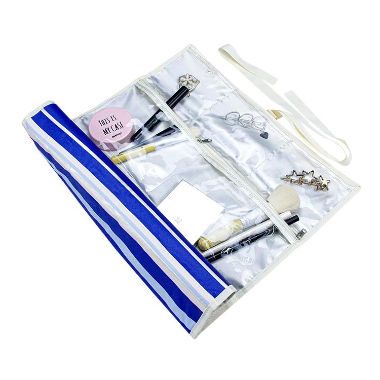 Satin storage jewelry roll up bag with pvc zipper pocket