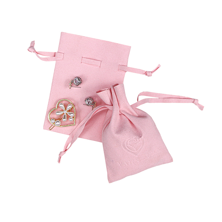 Custom pink suede gift drawstring bag necklace bracelet ring small jewelry bag