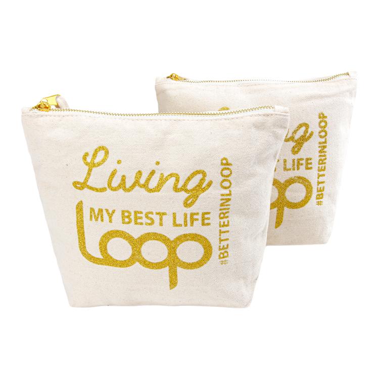 Custom gold logocanvas cosmetic makeup bag with zipper