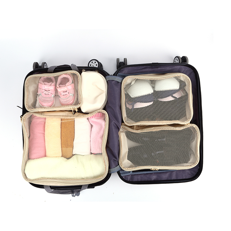Mesh travel packing cubes zipper storage bag