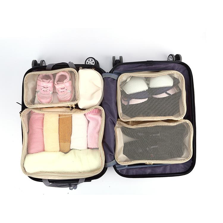 Mesh travel packing cubes zipper storage bag