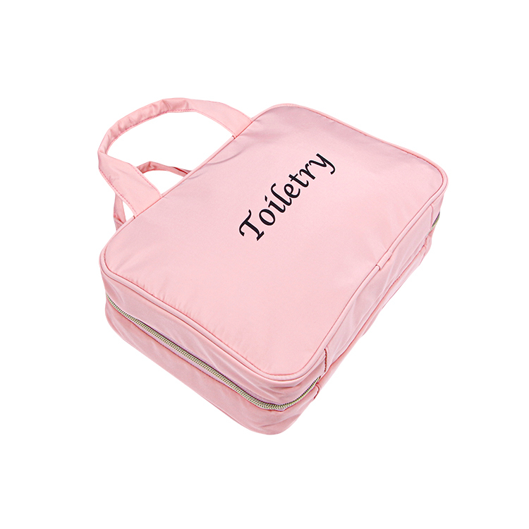 Tote nylon makeup bag cosmetic organizer travel bag roll up with zipper