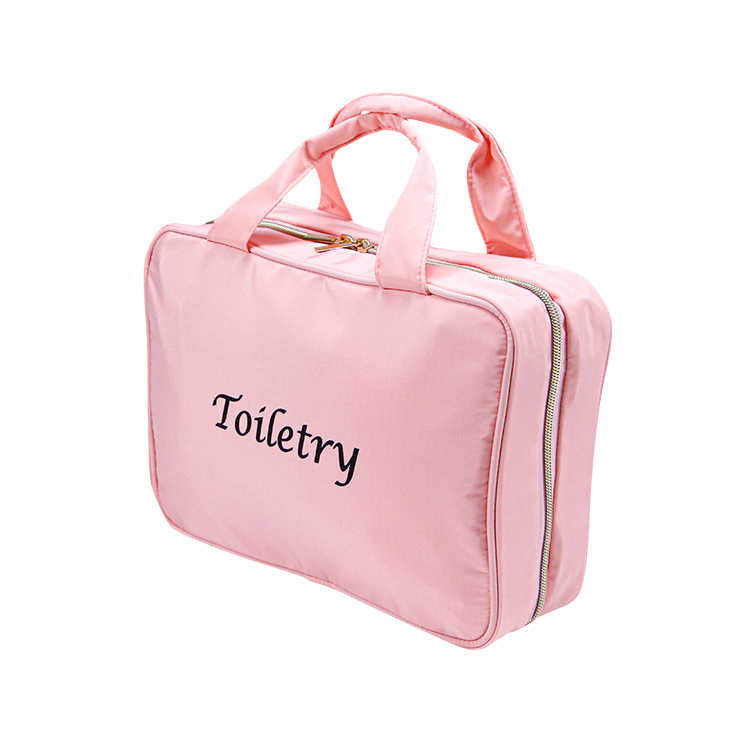 Pink nylon makeup bag cosmetic organizer travel bag with handles