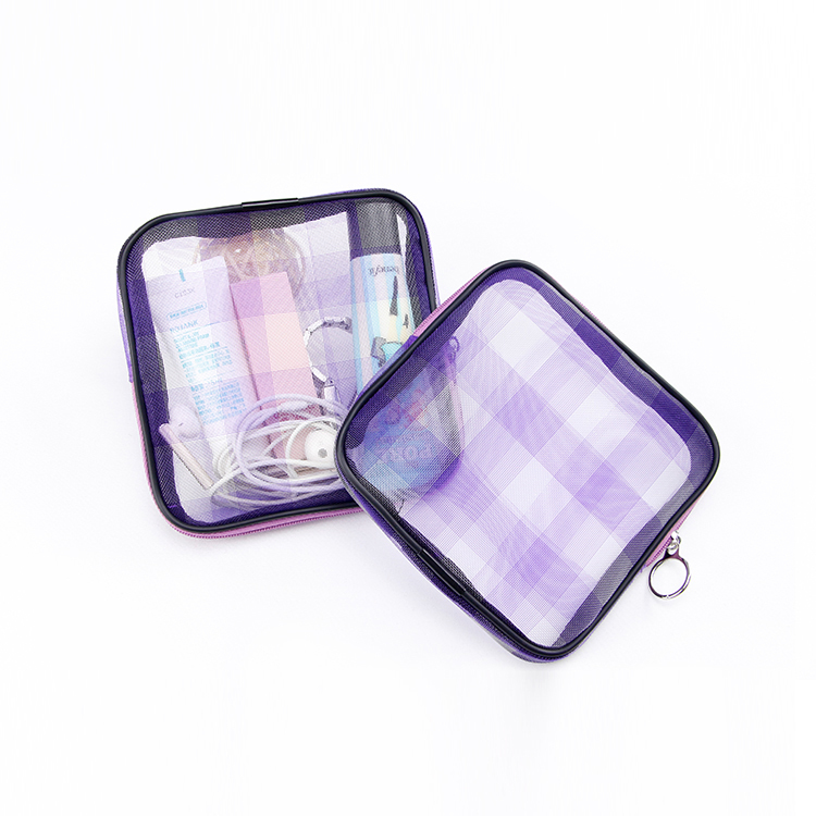 Custom zipper mesh storage bag gift makeup bag set