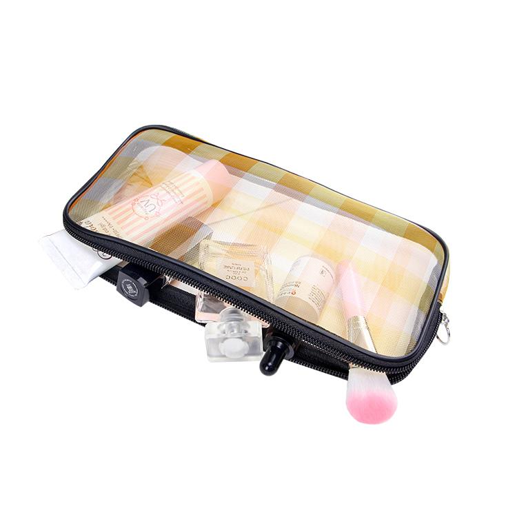 Custom yellow nylon mesh cosmetic makeup bag square zipper bag