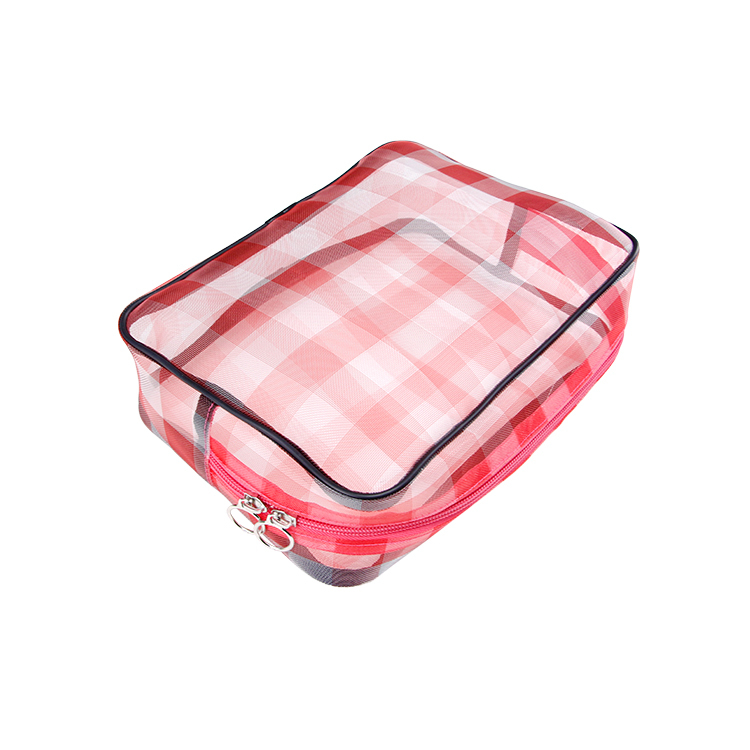 Big red nylon mesh travel makeup bag packing accessories zipper bag