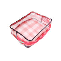 Big red nylon mesh travel makeup bag packing accessories zipper bag