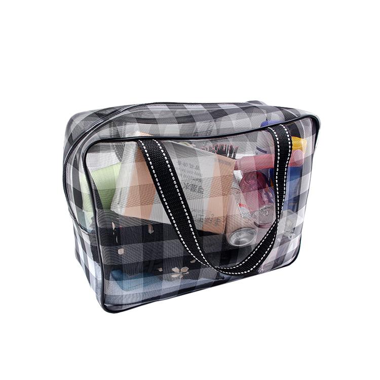 Custom big black buffaloplaidnylon mesh tote bag storage cosmetic cloth towel travel zipper bag