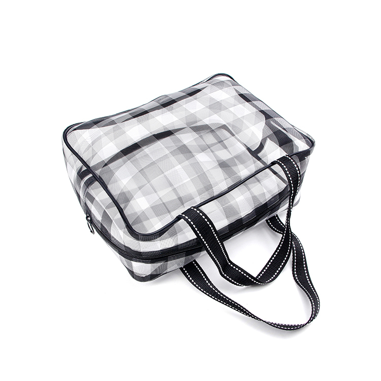Custom big black buffalo plaid nylon mesh tote bag storage cosmetic cloth towel travel zipper bag
