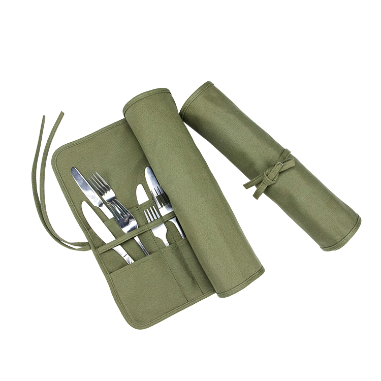 Green canvas roll bag knife bag for camping
