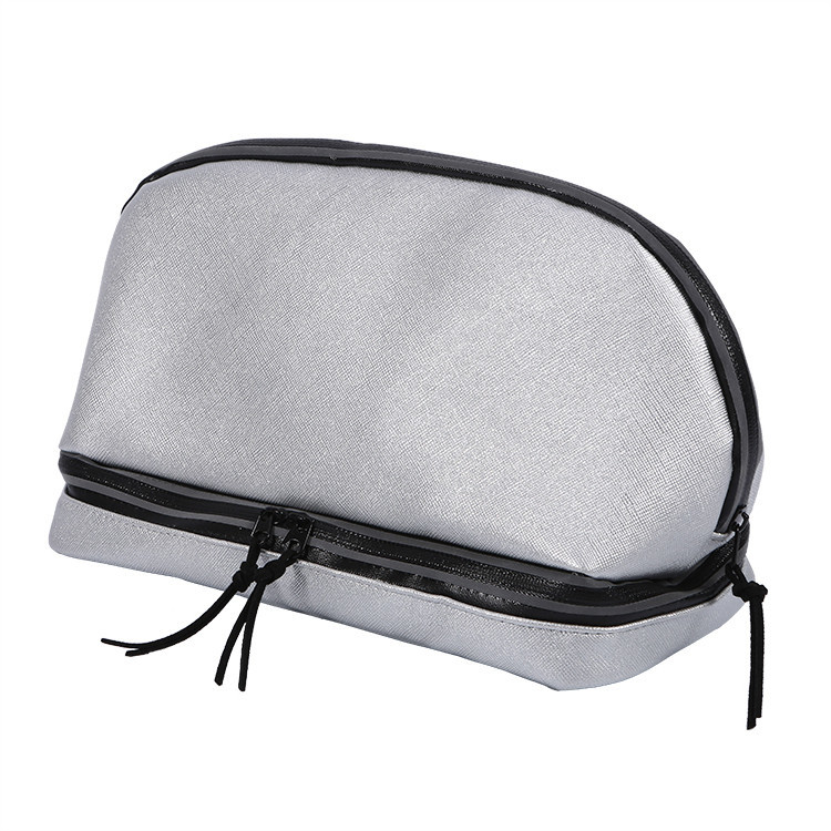 Custom travel makeup bag pu leather zipper cosmetic bag with compartment