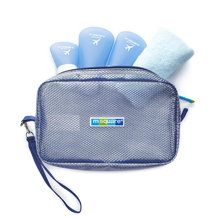 Custom PVC mesh zipper makeup cosmetic storage bag travel bag with handle