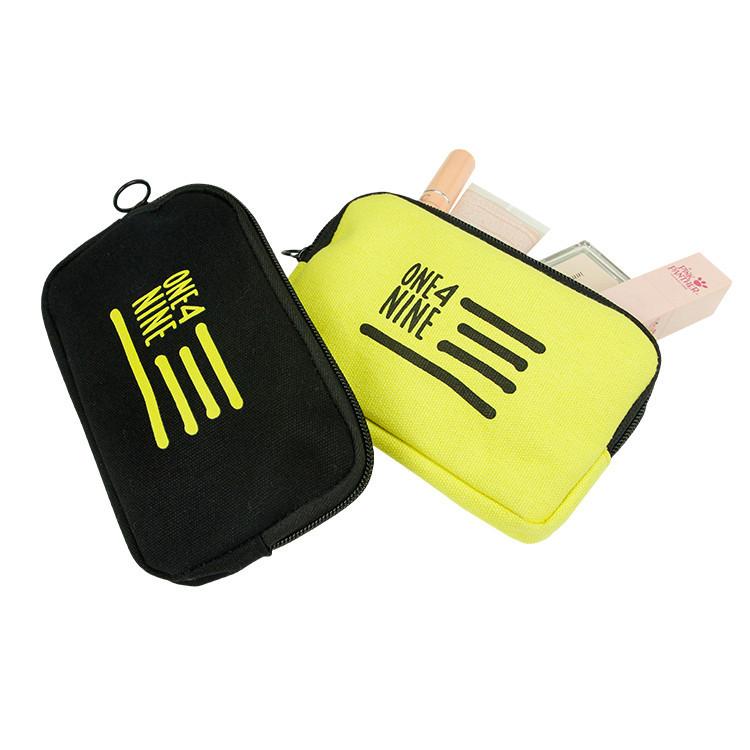 Custom print logo black phone coin makeup canvas zipper bag