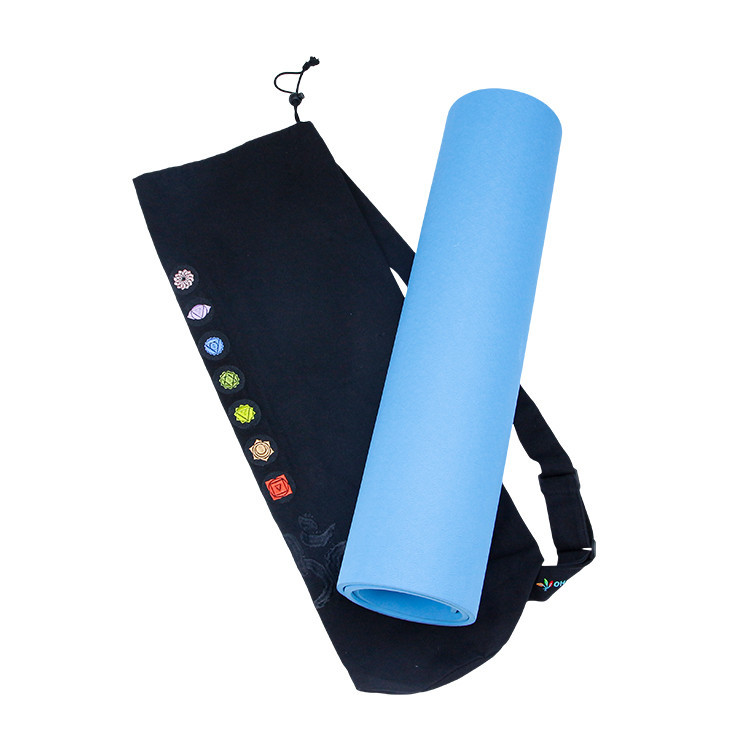Custom Drawstring Canvas Yoga Mat Holder Canvas Shoulder Sling Bag