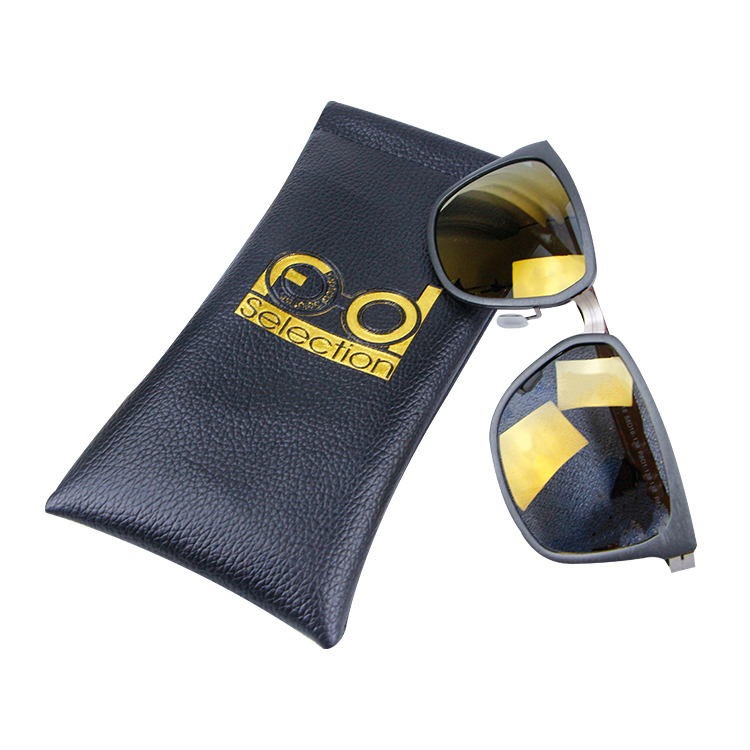 Custom black PU leather sunglasses pouch with spring opening