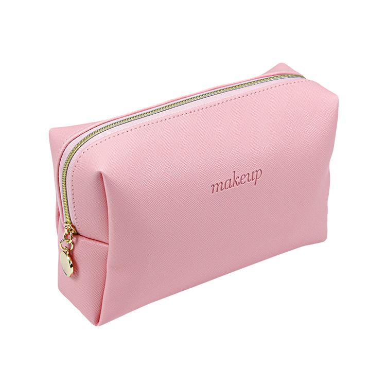 Custom pink pu leather makeup cosmetic bag zipper bag