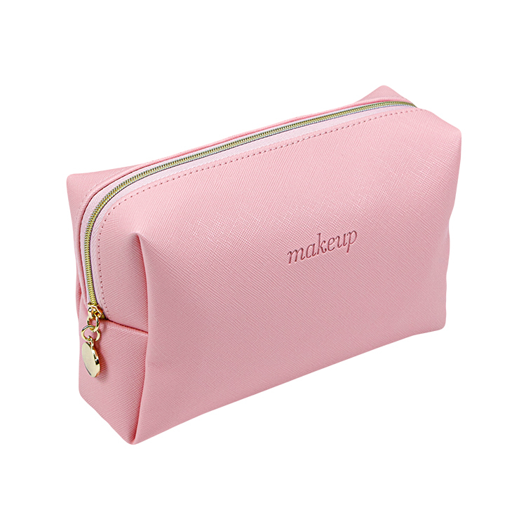 Custom pink pu leather makeup cosmetic bag zipper bag