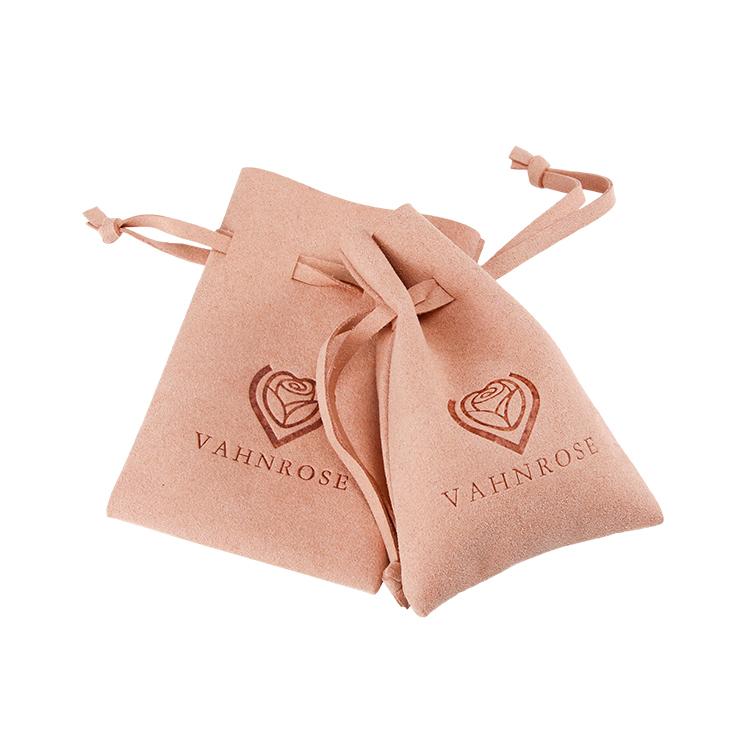 Custom embossing logo jewelry pouchsuede drawstring bag