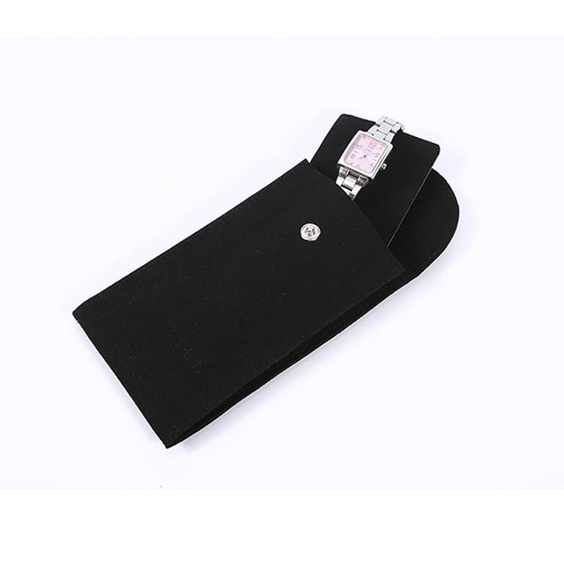 Custom black suede watch bag envelope jewelry bag embossing logo