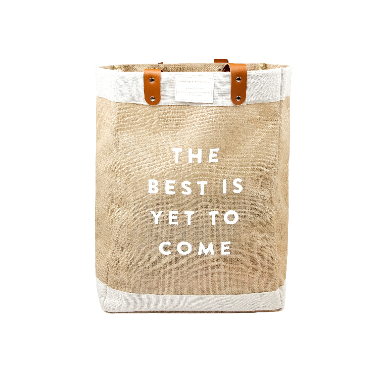 Custom print logo market grocery shopping jute tote bag travel beach bag with pu leather handles