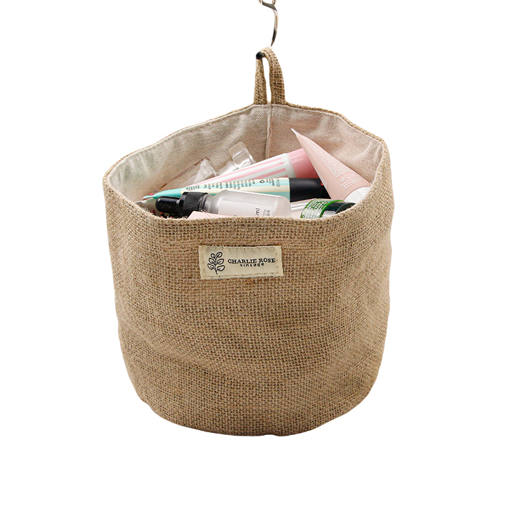 Custom jute storage bag small organizer hanging bag