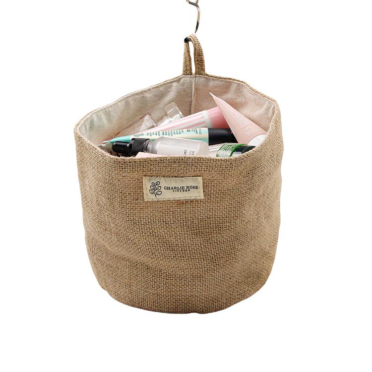 Custom jute storage bag small organizer hanging bag