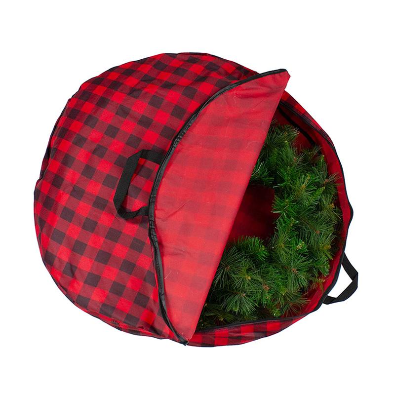 Custom zipper red buffalo plaid polyester christmas tree bag with handles