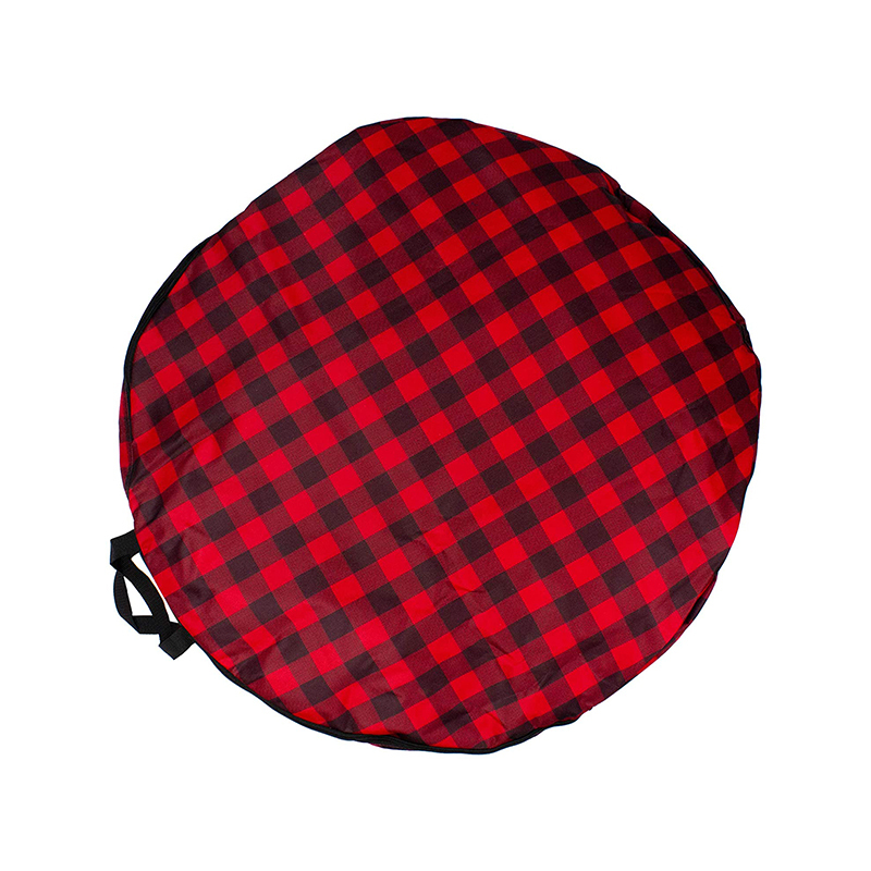 Custom zipper red buffalo plaid polyester christmas tree bag with handles